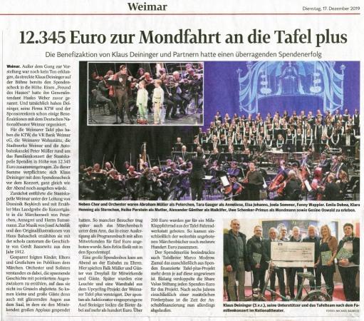 Peterchens Mondfahrt Nachlese Presse Benefizkonzert_TLZ 17.12.2019